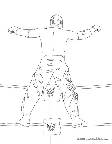Wrestler climbing on the ring rope coloring pages for Wwe ring coloring pages