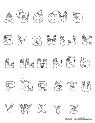 CHRISTMAS SPANISH ABC coloring pages - Spanish Snowman letters