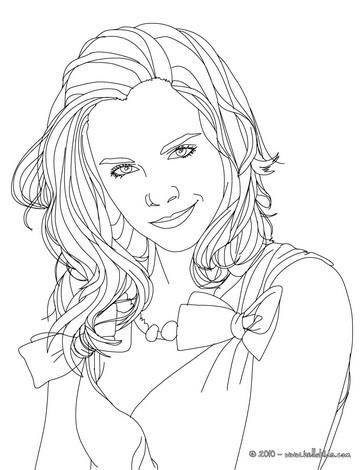 Emma Watson smiling close-up coloring page