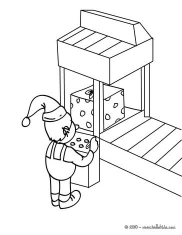 Santa's elf is working coloring page