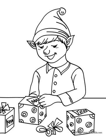 Santa's gift tagger coloring page