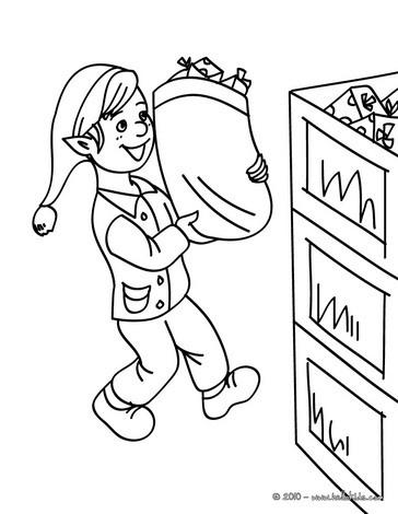 Santa's factory storekeeper coloring page