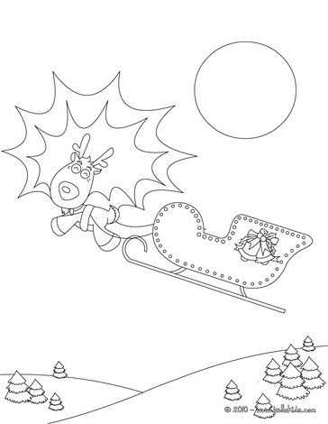 Comet, reindeers and sleigh coloring page
