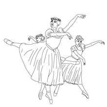 3 ballet dancers coloring page