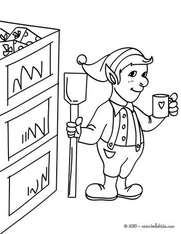 Helper in Santa's office coloring page