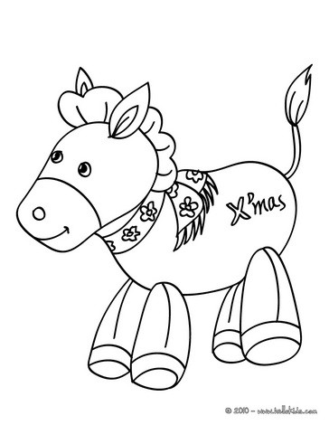 Nativity Donkey Xmas Coloring Page