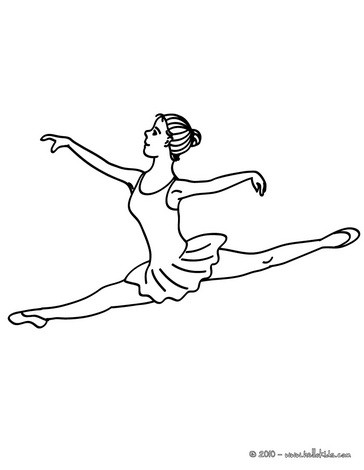 Ballerina Performing A Sitting Straddle Split Grand Jete Coloring Page