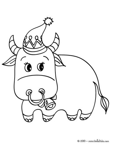 This is an image of Geeky Ox Coloring Page