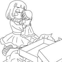 Gir with her doll coloring page - Coloring page - HOLIDAY coloring pages - CHRISTMAS coloring pages - CHRISTMAS SCENES coloring pages