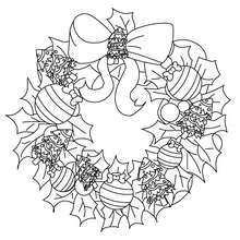 Xmas crown coloring page - Coloring page - HOLIDAY coloring pages - CHRISTMAS coloring pages - CHRISTMAS ORNAMENTS coloring pages