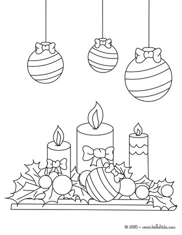 Tree Balls And Candles Coloring Pages Hellokids Com Tree With Candles Coloring Page
