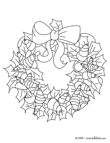 Ribbons And Holly Wreath Coloring Pages