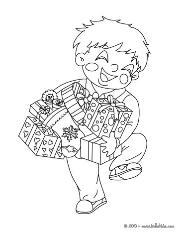 Boy With His Christmas Gifts Coloring Page   Coloring Page   HOLIDAY Coloring  Pages   CHRISTMAS