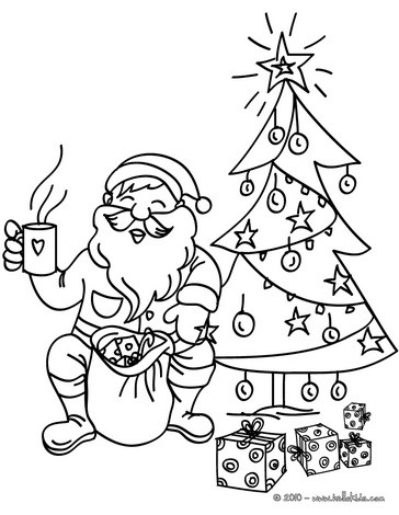 Santa Claus is drinking tea coloring page