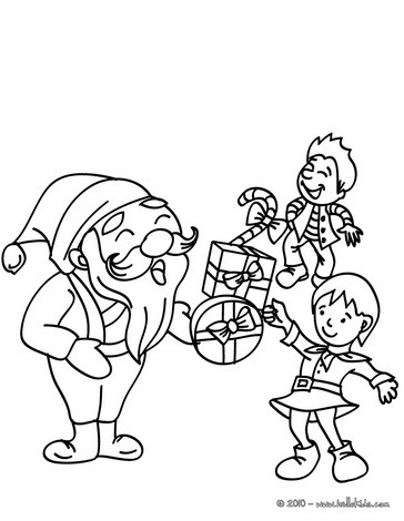 Santa gives out gifts coloring page