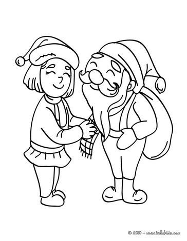 Santa Claus and elf coloring page
