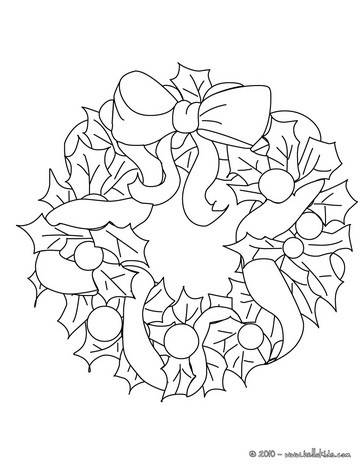 Holly leaves wreath coloring pages for Holly leaves coloring pages
