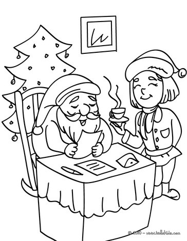 Santa Claus reading letters coloring page