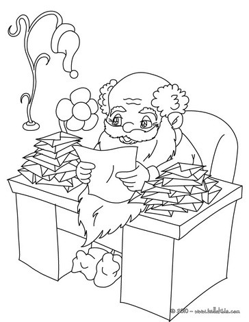 Santa reading christmas gift letters coloring page