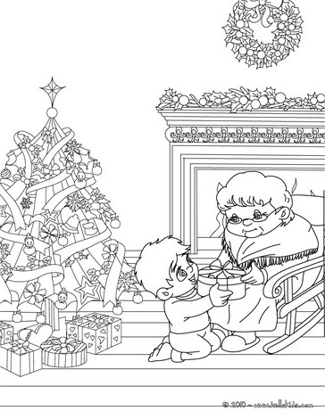 Grand-mother & son coloring page