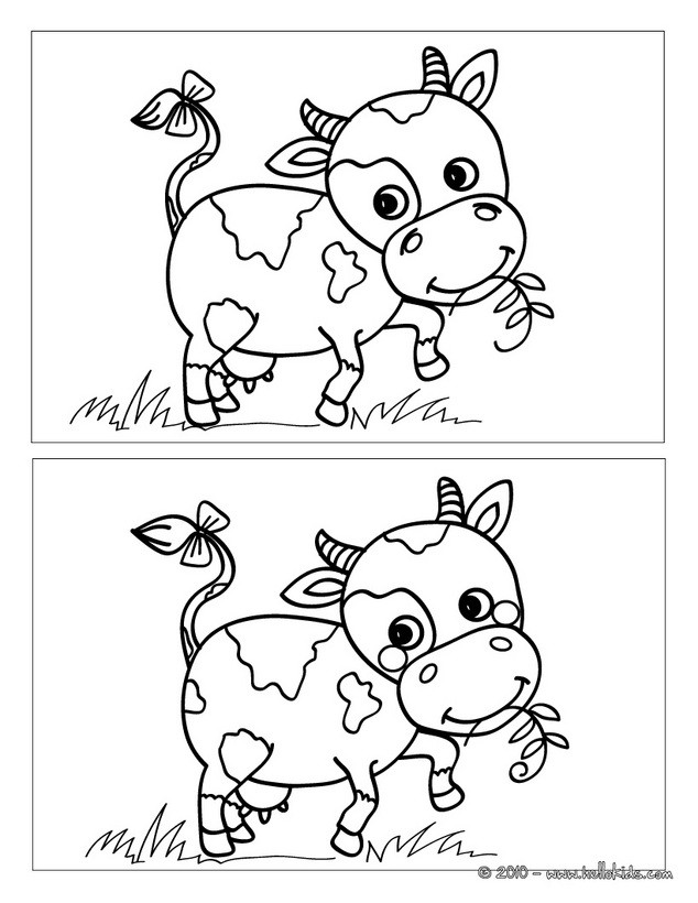Spot The Difference Printable Cow spot the 5 differences