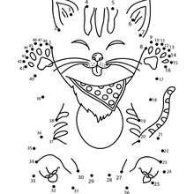 FUNNY CAT dot to dot game printable connect the dots game