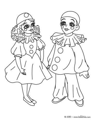 COLOMBINE AND PIERROT coloring page