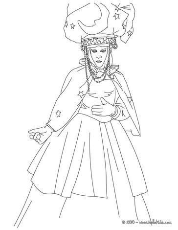 Venitian courtesan costume coloring page