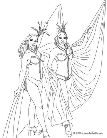 Rio carnival costumes coloring page