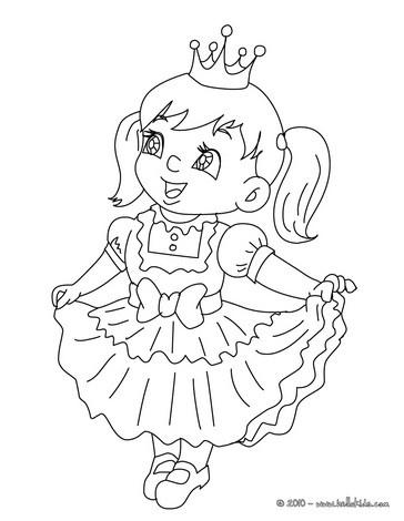 PRINCESS KID COSTUME coloring page