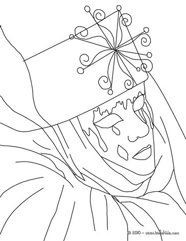 Venitian mask with tears coloring page