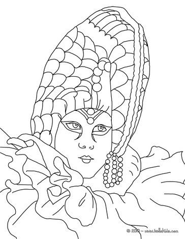 Venitian headgear coloring page