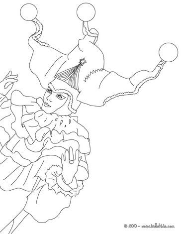 Venitian carnival character buffoon coloring page
