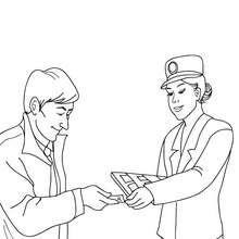 Train agent checking the passenger tickets coloring page - Coloring page - TRANSPORTATION coloring pages - TRAIN coloring pages