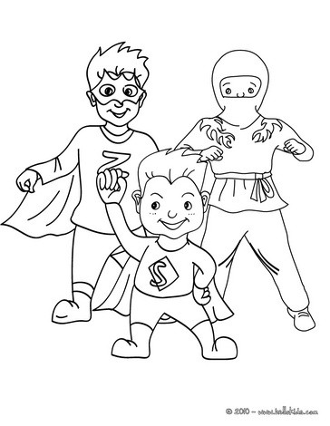 SUPERHEROS CARNIVAL COSTUMES coloring page