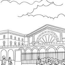 Train station outside scene coloring page - Coloring page - TRANSPORTATION coloring pages - TRAIN coloring pages