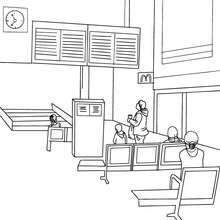 Train station modern hall coloring page - Coloring page - TRANSPORTATION coloring pages - TRAIN coloring pages