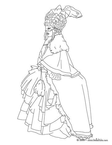 Venitian princess costume coloring page