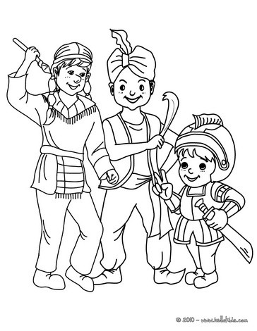 NINJA, FAKIR AND KNIGHT COSTUMES coloring page