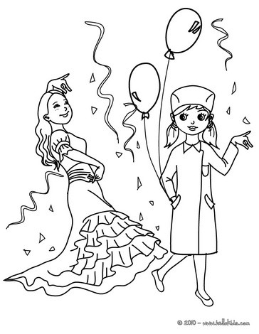 PRINCESS AND NURSE COSTUMES coloring page