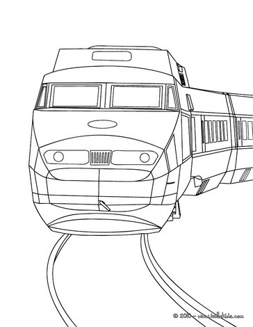 High speed rail engine front view coloring page