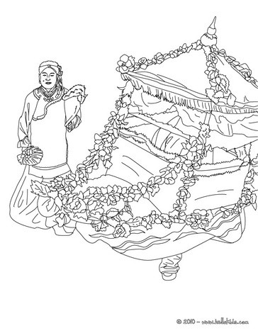 Chinese flower coach coloring page