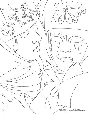 Venitian couple for carnival coloring page