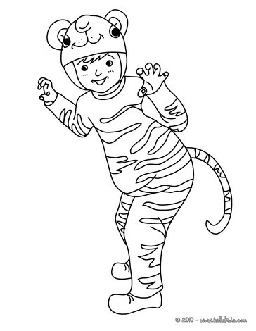 TIGER COSTUME coloring page