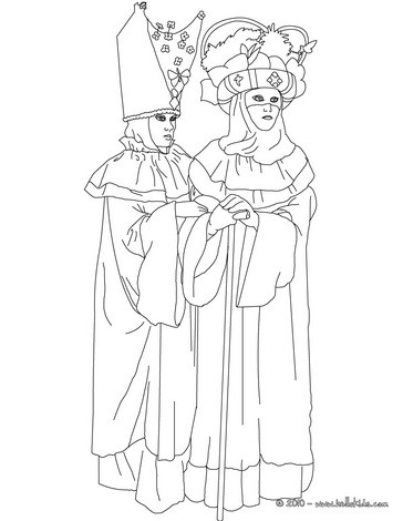 Beautiful venitian costumes coloring page