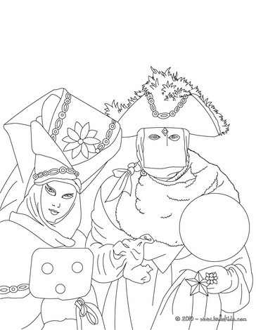Famous venitian costume for carnival coloring page