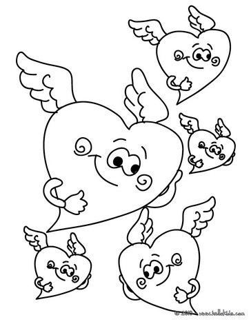 Winged hearts coloring page