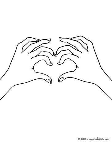 Hand Heart Coloring Page