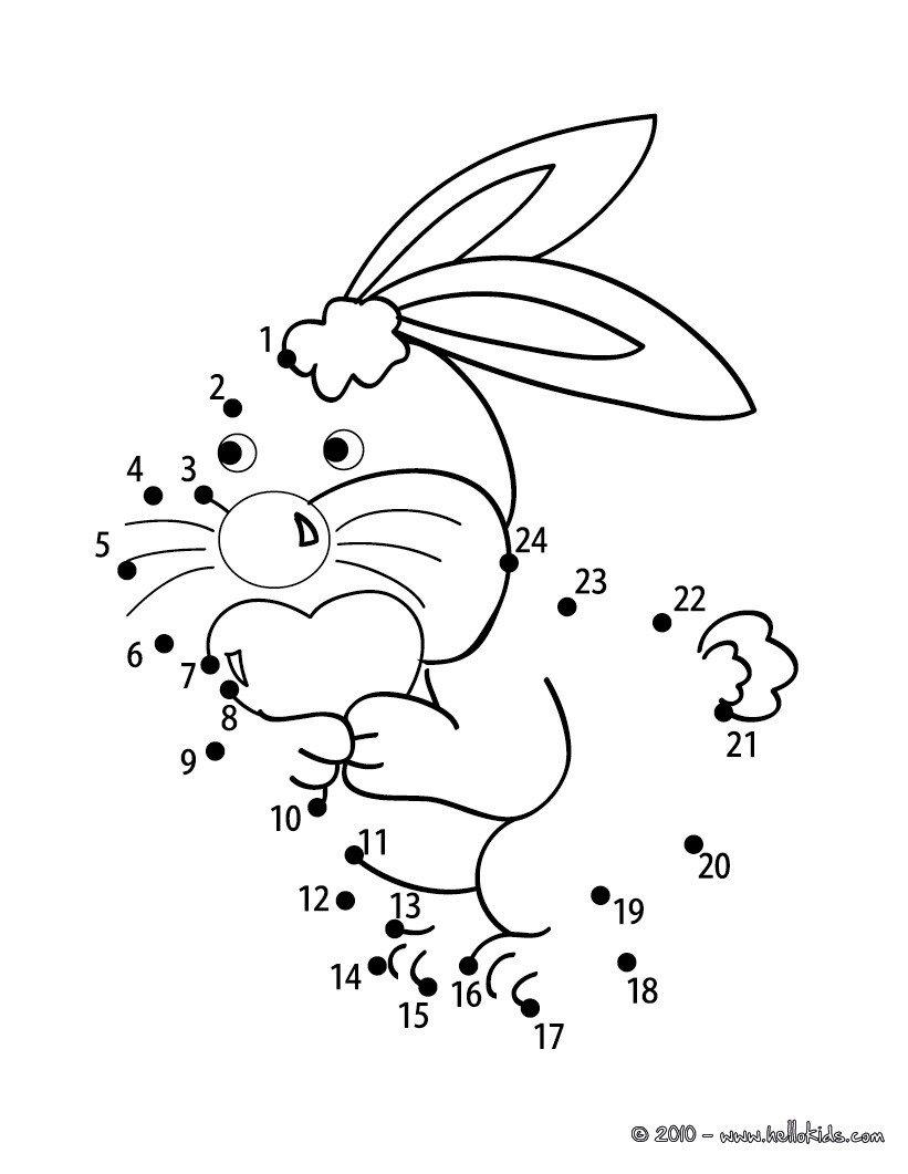 Lovely Bunny printable connect the dots game