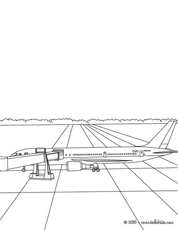Passangers getting in the plane coloring page